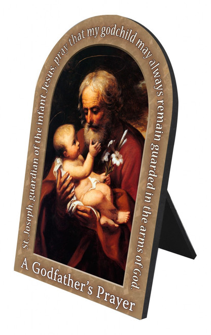 St. Joseph (Older) Godfather's Prayer Arched Desk Plaque