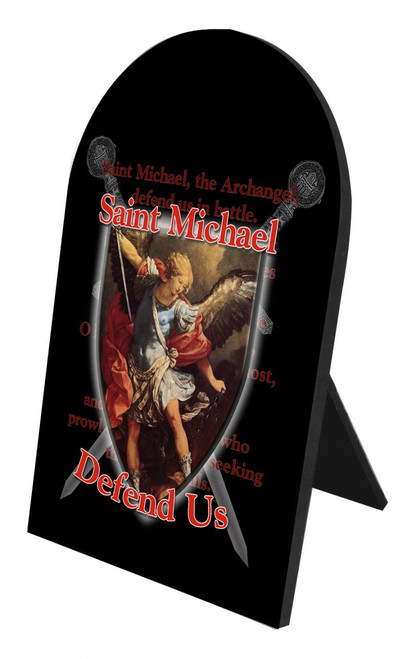 St. Michael Defend Us Arched Desk Plaque