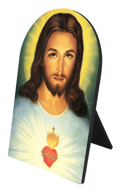 Sacred Heart Arched Desk Plaque