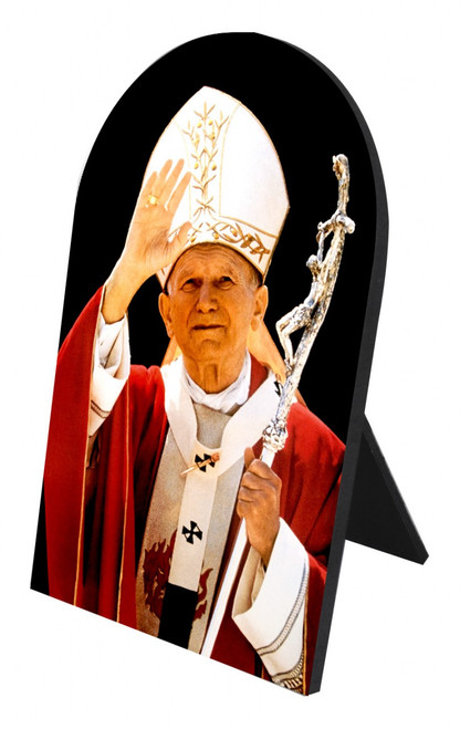 St. John Paul II Waving Arched Desk Plaque