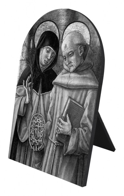 Sts. Catherine & Bernardino Arched Desk Plaque