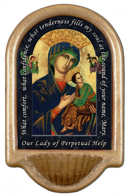 Mother of Perpetual Help Prayer Holy Water Font