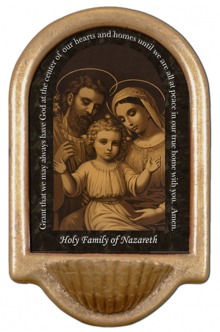 Sepia Holy Family Prayer Holy Water Font