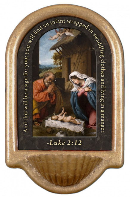 Nativity with Reaching Jesus Prayer Holy Water Font