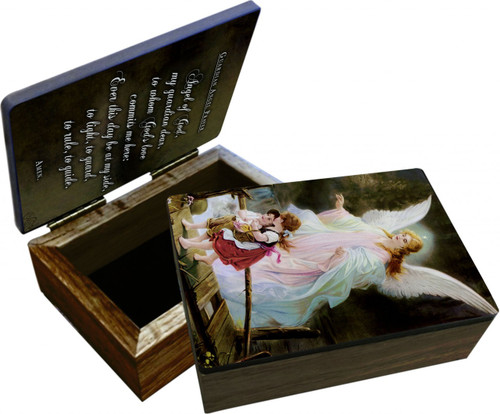 Guardian Angel on the Perilous Bridge Keepsake Box