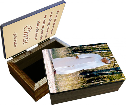 St. John Paul II Walking Rosary Keepsake Box