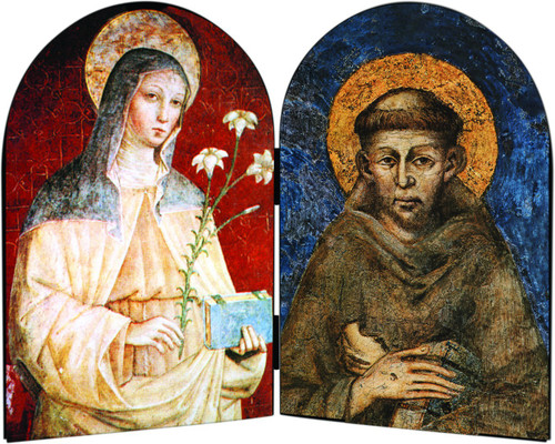 Sts. Francis and Clare Arched Diptych