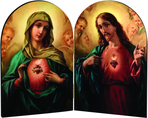 Sacred and Immaculate Hearts Arched Diptych