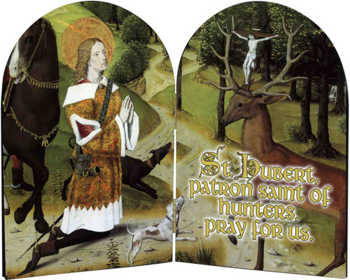 St. Hubert Hunter's Prayer Arched Diptych