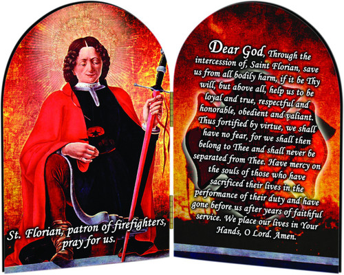 St. Florian Firefighter's Prayer Arched Diptych