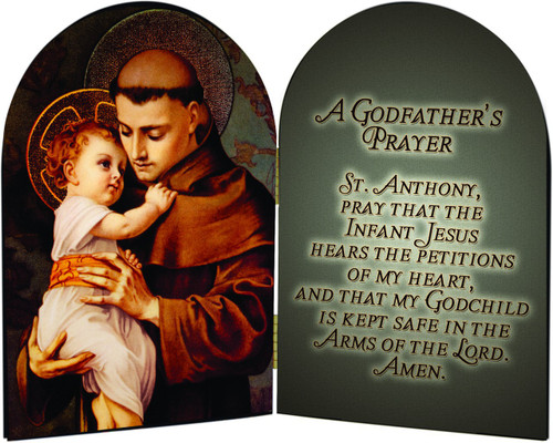 St. Anthony with Jesus A Godfather's Prayer Arched Diptych
