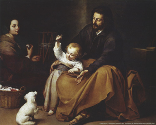 Holy Family with Small Bird Poster Print