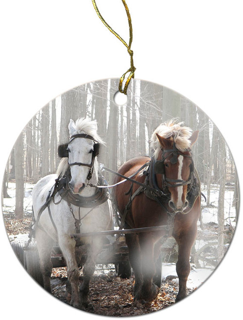 Draft Horses in Snow Ornament