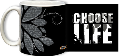 Choose Life Black and White Mug
