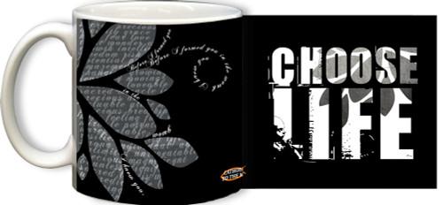 Choose Life Black and White Mug