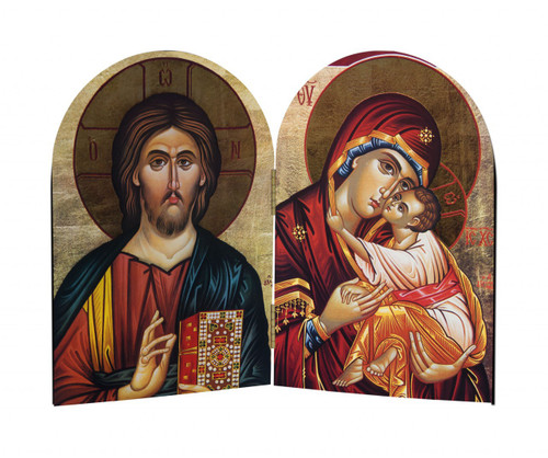 Jesus and Mary Icon Arched Diptych
