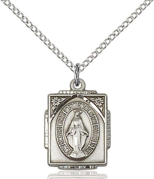 Sterling Silver Miraculous Medal Square