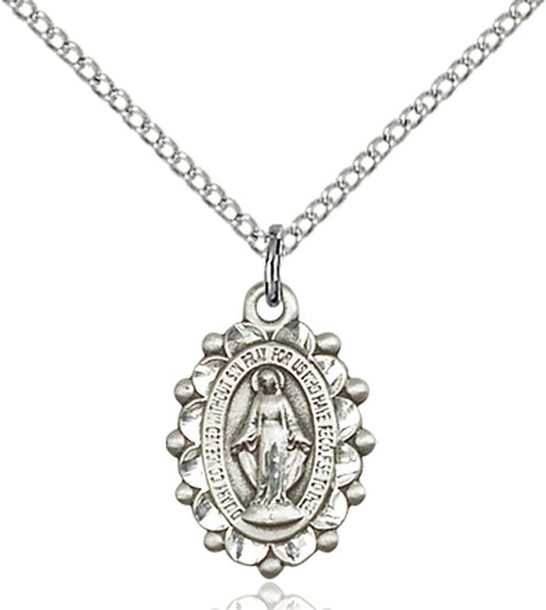 Oval sterling silver medal with decorative detail on an 18 inch sterling silver chain