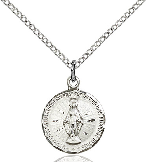 Round sterling silver miraculous medal on an 18 inch sterling silver chain