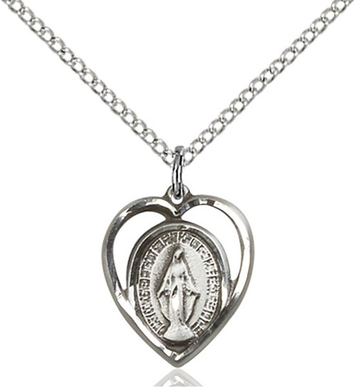 Sterling silver heart-shaped miraculous medal on an 18 inch sterling silver chain