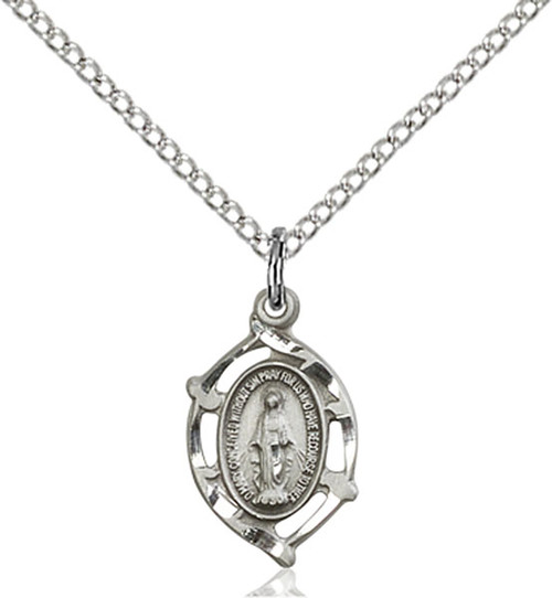 Sterling silver miraculous medal on an 18 inch stainless chain