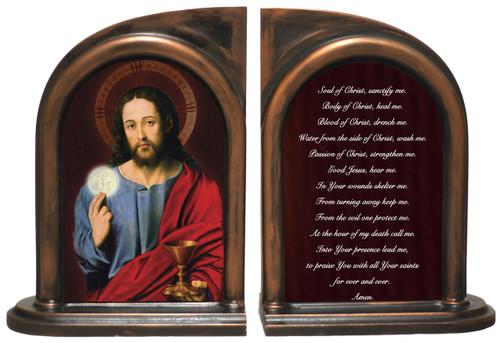 Christ Holding Eucharist Anima Christi Bookends