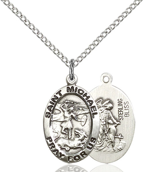 Sterling Silver St. Michael Medal Oval B