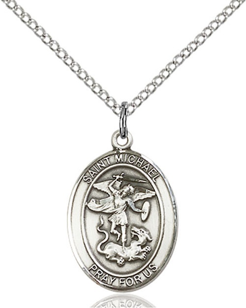 Sterling Silver St. Michael Medal Oval C