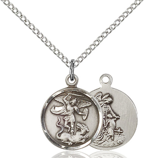 Sterling Silver St. Michael Medal Small Round
