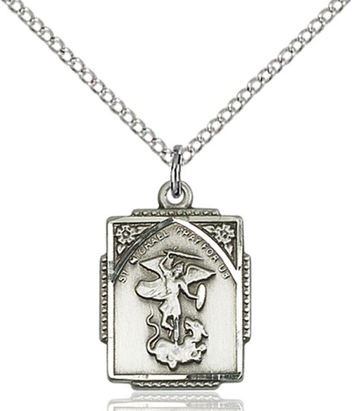 Sterling Silver St. Michael Medal Square