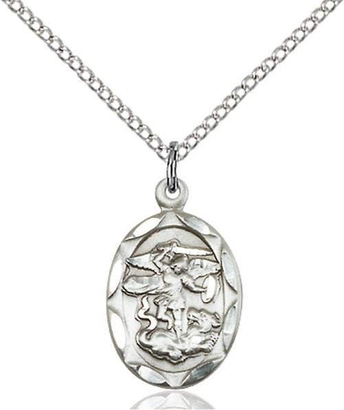 Sterling Silver St. Michael Medal Small Oval