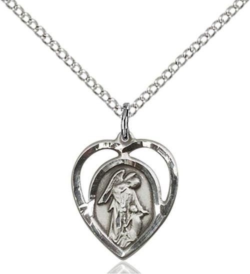 Sterling Silver Guardian Angel Medal Heart Shaped