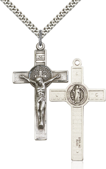 Sterling silver crucifix on a 24 inch stainless chain