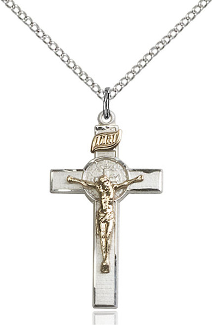 Sterling Silver/Gold Filled Crucifix St. Benedict