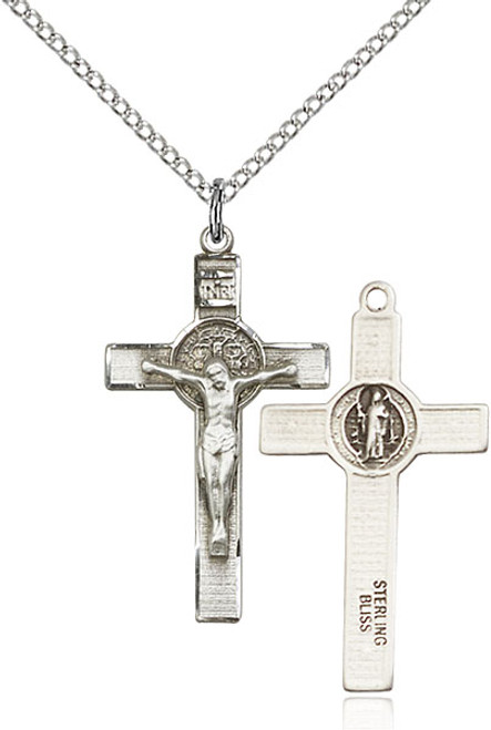 Sterling silver crucifix on an 18 inch stainless chain