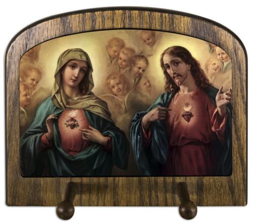 Sacred and Immaculate Hearts Horizontal Peg Holder