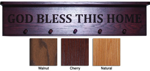 God Bless This Home Engraved Wood Shelf