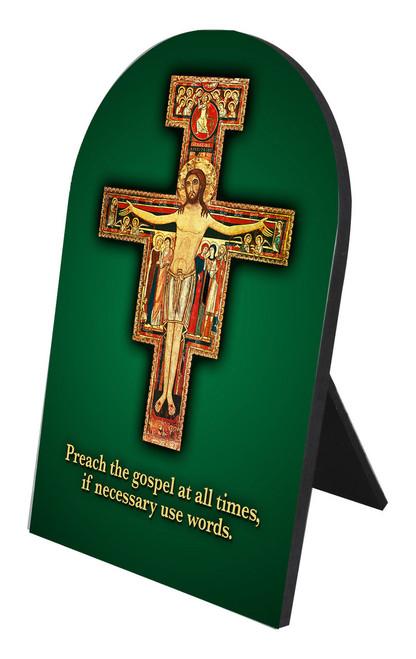 Preach the Gospel Cross Arched Desk Plaque
