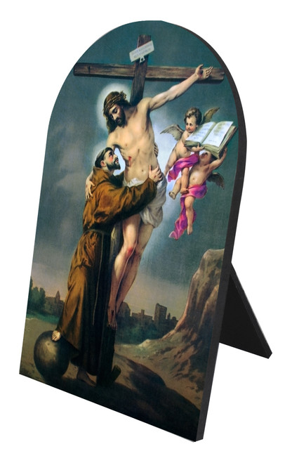 St. Francis with Christ Arched Desk Plaque