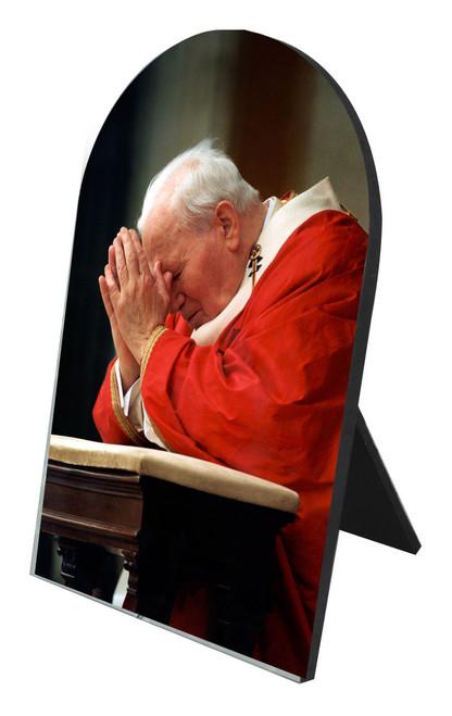 Saint John Paul the Great Kneeling Arched Desk Plaque