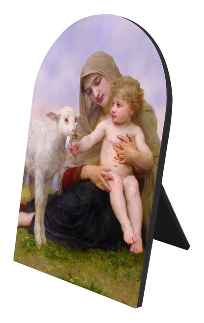 Madonna, Child, and Lamb Arched Desk Plaque