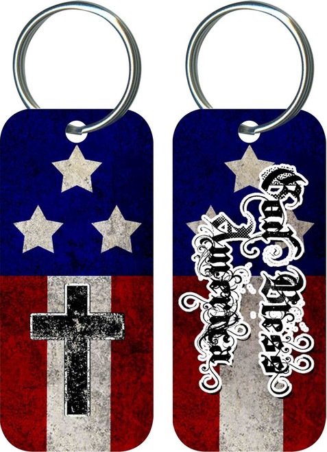 God Bless America Rectangle Keychain