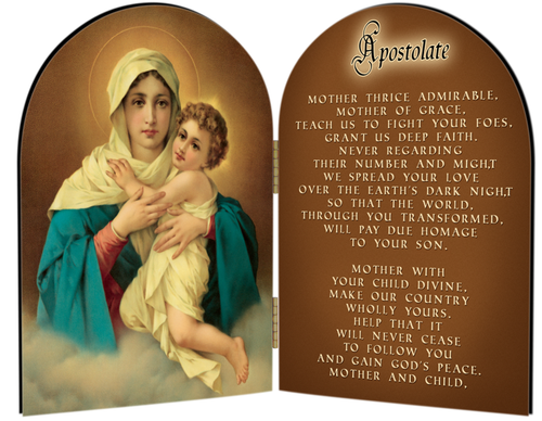 Schoenstatt Madonna (Apostolate Prayer) Arched Diptych