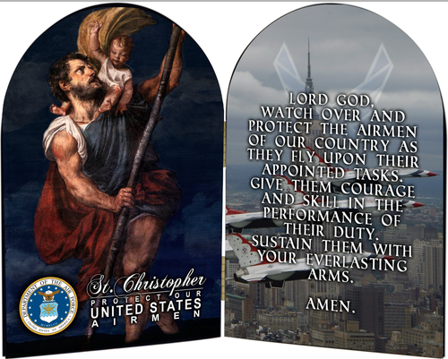 Air Force St. Christopher I Arched Diptych
