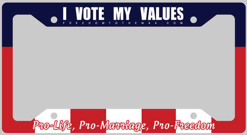 I Vote my Values License Plate Frames