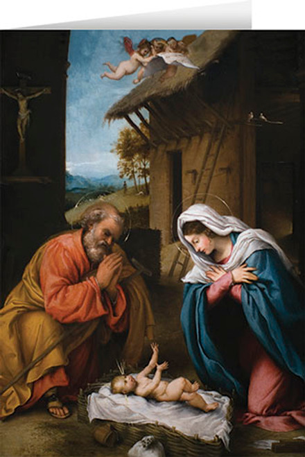 Nativity with Reaching Jesus Christmas Cards