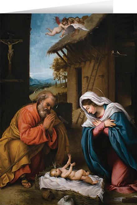 Nativity with Reaching Jesus Christmas Cards