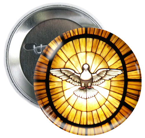 Stained Glass Dove Button