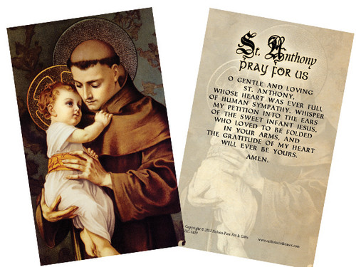 St. Anthony with Jesus Holy Card
