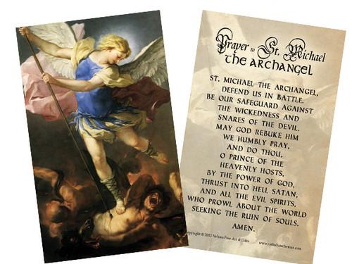 St. Michael (Blue Armor) Holy Card